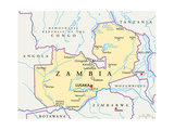 Zambia Political Map Prints by Peter Hermes Furian