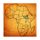South Sudan on Actual Map of Africa Plakater af michal812