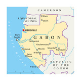 Gabon Political Map Prints by Peter Hermes Furian