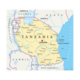 Tanzania Political Map Prints by Peter Hermes Furian