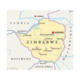 Zimbabwe Political Map Plakater af Peter Hermes Furian