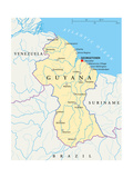 Guyana Political Map Prints by Peter Hermes Furian
