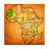 Mauritania on Actual Map of Africa Posters af  michal812