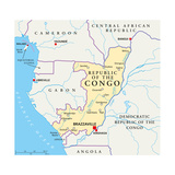 Republic of the Congo Political Map Plakater af Peter Hermes Furian