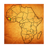 Guinea on Actual Map of Africa Prints by  michal812