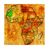 Mauritania on Actual Map of Africa Art by  michal812