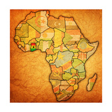 Ghana on Actual Map of Africa Láminas por  michal812