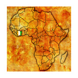 Ivory Coast on Actual Map of Africa Prints by  michal812