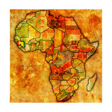 Guinea on Actual Map of Africa Poster by  michal812
