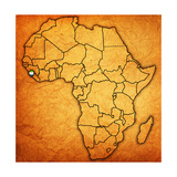 Sierra Leone on Actual Map of Africa Print by  michal812