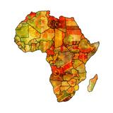 Morocco on Actual Map of Africa Premium Giclee Print by  michal812