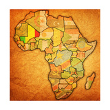 Mali on Actual Map of Africa Premium Giclee Print by  michal812