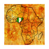 Nigeria on Actual Map of Africa Kunst af  michal812