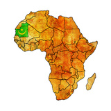 Mauritania on Actual Map of Africa Premium Giclee Print by  michal812