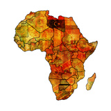 Libya on Actual Map of Africa Premium Giclee Print by  michal812