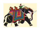 Vector Illustration of a Decorated Indian Elephant Prints by  isaxar