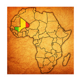 Mali on Actual Map of Africa Prints by  michal812