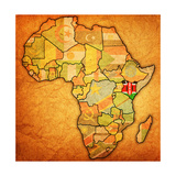 Kenya on Actual Map of Africa Premium Giclee Print by  michal812