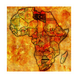 Libya on Actual Map of Africa Posters af  michal812