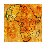 Senegal on Actual Map of Africa Premium Giclee Print by  michal812