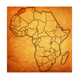 Morocco on Actual Map of Africa Prints by  michal812