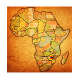 Zimbabwe on Actual Map of Africa Plakater af michal812
