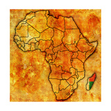 Madagascar on Actual Map of Africa Prints by  michal812