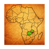 Zambia on Actual Map of Africa Print by  michal812