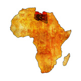 Libya on Actual Map of Africa Poster by  michal812