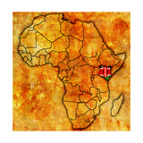 Kenya on Actual Map of Africa Art by  michal812