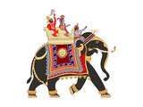 Vector Illustration of a Decorated Indian Elephant Poster by  isaxar