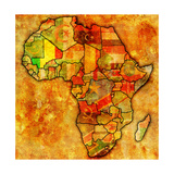 Mali on Actual Map of Africa Poster af  michal812