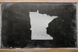 Outline Map of Us State of Minnesota on Blackboard Photographic Print by  vepar5