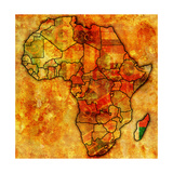 Madagascar on Actual Map of Africa Premium Giclee Print by  michal812