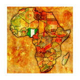 Nigeria on Actual Map of Africa Prints by  michal812