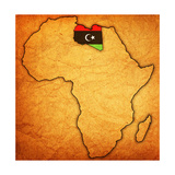 Libya on Actual Map of Africa Posters by  michal812