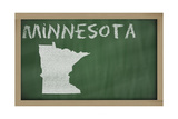 Outline Map of Minnesota on Blackboard Prints by  vepar5
