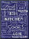 Kitchen Cooks Indigo Mounted Print by Carole Stevens