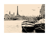 Vector Illustration of a View of Seine River in Paris with Barges and Eiffel Tower Prints by  isaxar