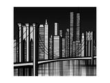 Vector Illustration of Brooklyn Bridge in New York Print by  isaxar