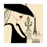 Vector Illustration of Woman on Alexander Bridge in Paris (Ink Pen Drawing) Art by  isaxar