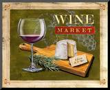 Market Wine & Cheese Mounted Print by Angela Staehling