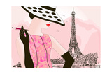 Vector Illustration of a Fashion Woman in Paris Print by  isaxar