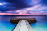Beautiful Pier in Sunset, Dramatic Purple and Blue Cloudy Sky, Place for Romantic Dinner, Luxury Re Photographic Print by Anna Omelchenko