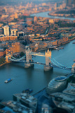 London Rooftop View with Tower Bridge at Sunset with Urban Architectures. Prints by Songquan Deng
