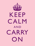 Keep Calm and Carry On Motivational Pale Pink Art Print Poster Stretched Canvas Print