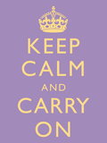 Keep Calm and Carry On Motivational Lilac Art Print Poster Prints