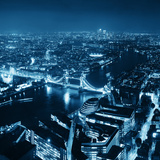 London Aerial View Panorama at Night with Urban Architectures and Tower Bridge. Prints by Songquan Deng