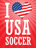 I Love USA Soccer (World Cup, Red) Sports Poster Print Poster