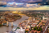 London Tower Bridge and Canery Wharf Skyline Photographic Print by  Yolfran